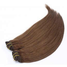 16 inch (40cm) Deluxe clip in human REMY hair - medium brown