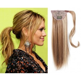 Clip in ponytail wrap / braid hair extensions 24 inch straight - mixed blonde