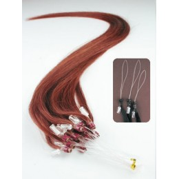 24 inch (60cm) Micro ring human hair extensions - copper red