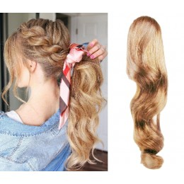 Clip in ponytail wrap / braid hair extensions 24 inch wavy - natural/light blonde