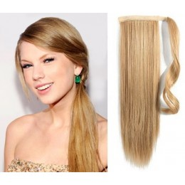 Clip in ponytail wrap / braid hair extensions 24 inch straight - natural/light blonde
