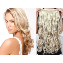 One piece full head 5 clips clip in hair weft extensions wavy – platinum / light brown