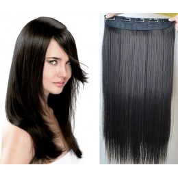 20 inches one piece full head 5 clips clip in hair weft extensions straight – natural black
