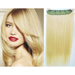 20 inches one piece full head 5 clips clip in hair weft extensions straight – natural blonde