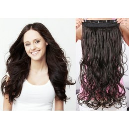 20 inches one piece full head 5 clips clip in hair weft extensions wavy – black