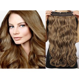 20 inches one piece full head 5 clips clip in hair weft extensions wavy – medium brown