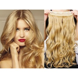 20 inches one piece full head 5 clips clip in hair weft extensions wavy – light brown