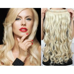 20 inches one piece full head 5 clips clip in hair weft extensions wavy – the lightest blonde