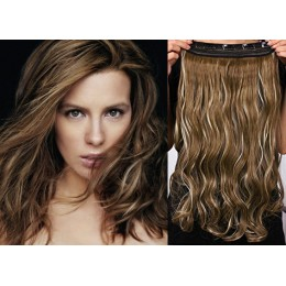 20 inches one piece full head 5 clips clip in hair weft extensions wavy – platinum
