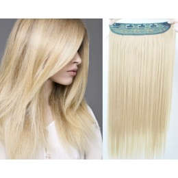 24 inches one piece full head 5 clips clip in kanekalon weft straight – the lightest blonde