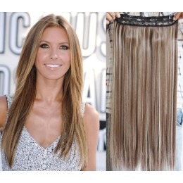 24 inches one piece full head 5 clips clip in kanekalon weft straight – dark brown / blonde