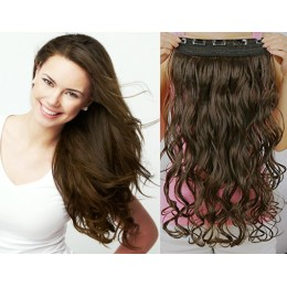 24 inches one piece full head 5 clips clip in kanekalon weft wavy – dark brown