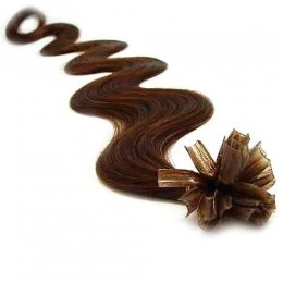 20 inch (50cm) Nail tip / U tip human hair pre bonded extensions wavy - medium brown