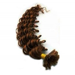 20 inch (50cm) Nail tip / U tip human hair pre bonded extensions curly - medium brown