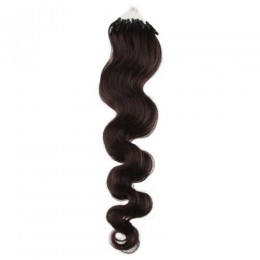 20 inch (50cm) Micro ring / easy ring human hair extensions wavy - natural black