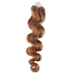 20 inch (50cm) Micro ring / easy ring human hair extensions wavy - light brown