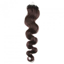 24 inch (60cm) Micro ring / easy ring human hair extensions wavy - dark brown