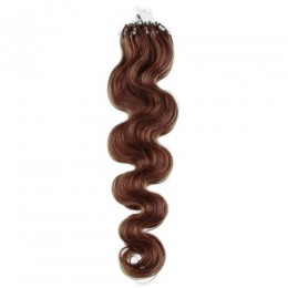 24 inch (60cm) Micro ring / easy ring human hair extensions wavy - medium light brown