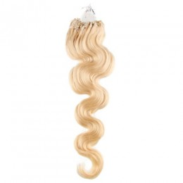 24 inch (60cm) Micro ring / easy ring human hair extensions wavy - the lightest blonde