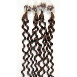 20 inch (50cm) Micro ring / easy ring human hair extensions curly - medium light brown