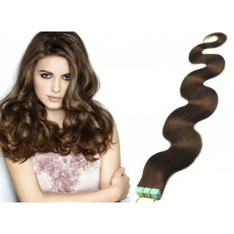 20 inch (50cm) Tape Hair / Tape IN human REMY hair wavy - medium brown
