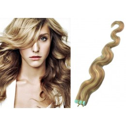 20 inch (50cm) Tape Hair / Tape IN human REMY hair wavy - mixed blonde