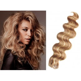 20 inch (50cm) Tape Hair / Tape IN human REMY hair wavy - light blonde / natural blonde
