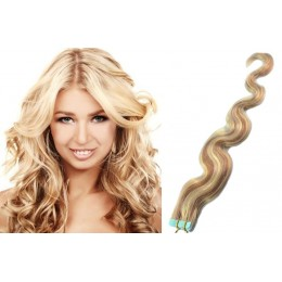 20 inch (50cm) Tape Hair / Tape IN human REMY hair wavy - platinum / light brown