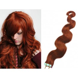 20 inch (50cm) Tape Hair / Tape IN human REMY hair wavy - copper red