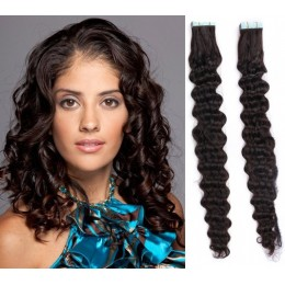 24 inch (60cm) Tape Hair / Tape IN human REMY hair curly - natural black