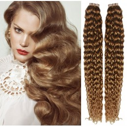24 inch (60cm) Tape Hair / Tape IN human REMY hair curly - light brown