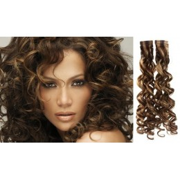 24 inch (60cm) Tape Hair / Tape IN human REMY hair curly - dark brown / blonde