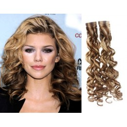 24 inch (60cm) Tape Hair / Tape IN human REMY hair curly - mixed blonde