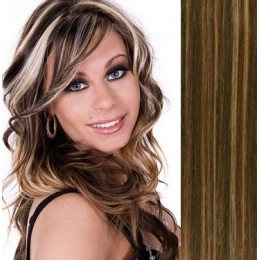 16 inch (40cm) Clip in human hair 100g - dark brown/blonde