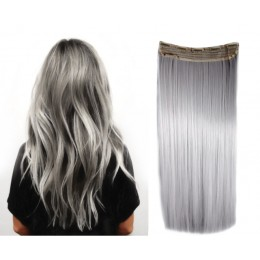 24 inches one piece full head 5 clips clip in kanekalon weft straight – black